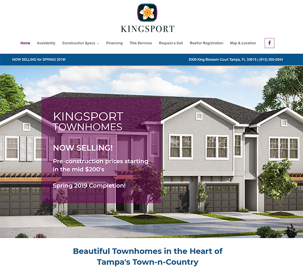 screenshot of kingsporttownhomes.com